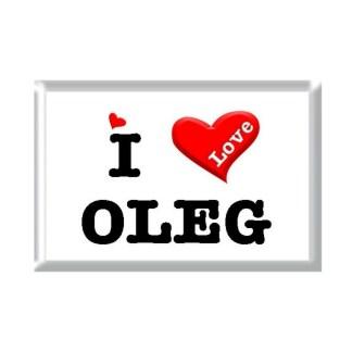 I Love OLEG rectangular refrigerator magnet