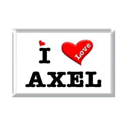 I Love AXEL rectangular refrigerator magnet