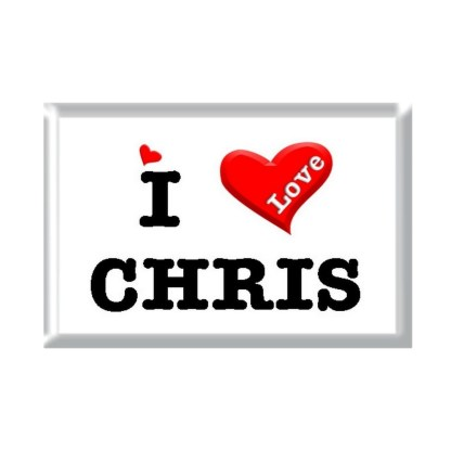 I Love CHRIS rectangular refrigerator magnet