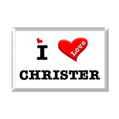 I Love CHRISTER rectangular refrigerator magnet