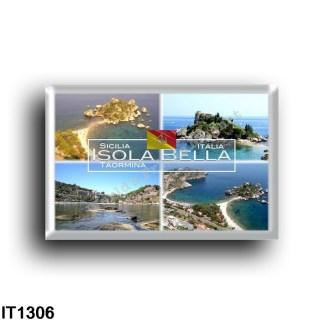 IT1306 Europe - Italy - Sicily - Taormina - Isola Bella - Baia - Panorama - Beach from above