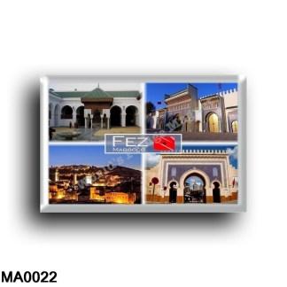 MA0022 Africa - Marocco - Fez - University of al Quaraoulyine - Main entrance of the Royal Palace - Panorama Fez at night - Bab