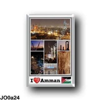JO0a24 Asia - Jordan - Amman - I Love Mosaic - Panorama - Amman By Night