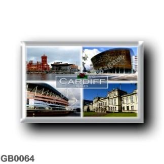 GB0064 Europe - Wales - Cardiff - Millenium Stadium - Pierhead Building and Senedd - Millenium Center - University's Main Buildi