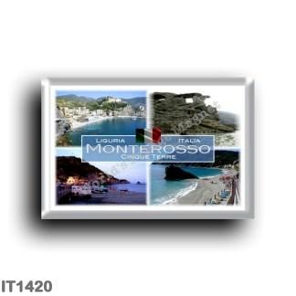 IT1420 Europe - Italy - Liguria - Monterosso - rock Cigolini Cinque Terre - Beach - Statue of Neptune