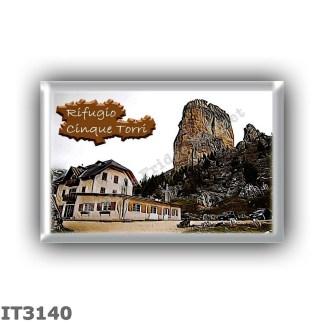 IT3140 Europe - Italy - Dolomites - Group Nuvolau - alpine hut Cinque Torri - locality Sotto le Cinque Torri - seats 16 - altitu
