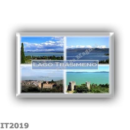 IT2019 Europe - Italy - Umbria - Trasimeno Lake - La Badia on Lake Trasimeno - The lake seen from Castiglione del Lago - Fortres