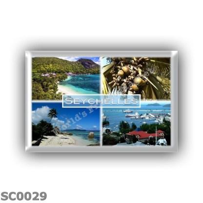 SC0029 Africa - Seychelles - Beach Resort - Lodoicea Maldivica Coco de Mer - Beach of Anse Source d'Argent on the island of La D
