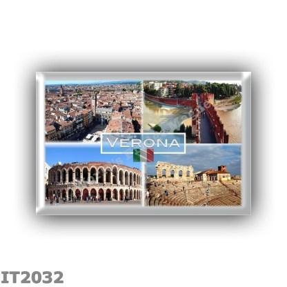 IT2032 Europe - Italy - Verona - Arena Internally - Castelvecchio Bridge - Arena - P.zza delle Erbe - Panorama