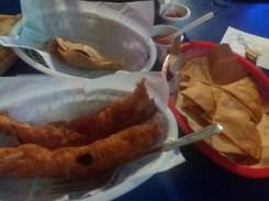 At Pescaditos. Blue crab taco, fish taco, nachos & salsas