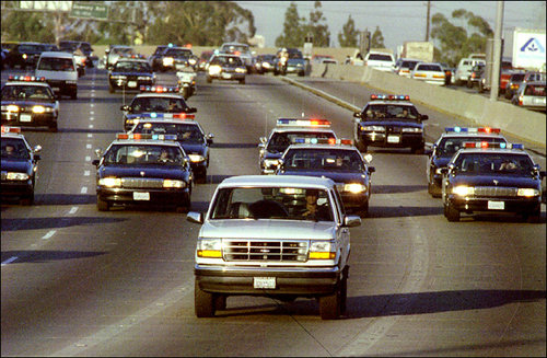On June 17th 1994, infamous NFL Star O.J. Simpson was chased by police in cars along a California freeway.