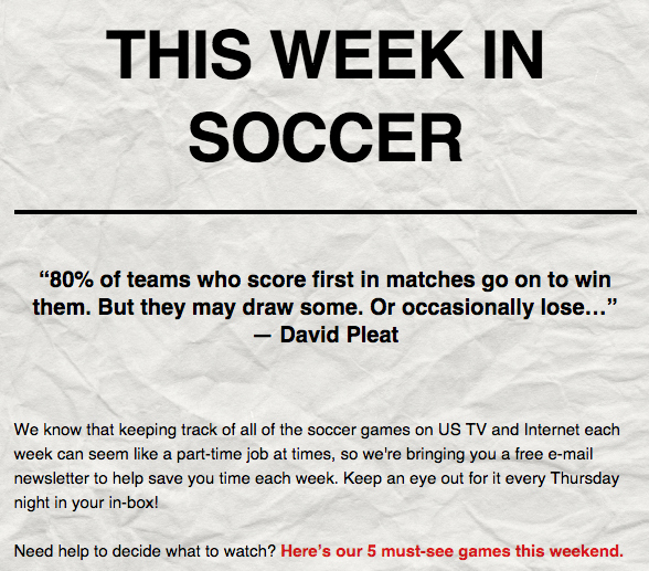 Receive Weekly Soccer TV Listings With Our Free Email