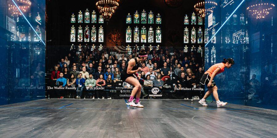Amanda Sobhy celebrates on court at the University Club of Chicago