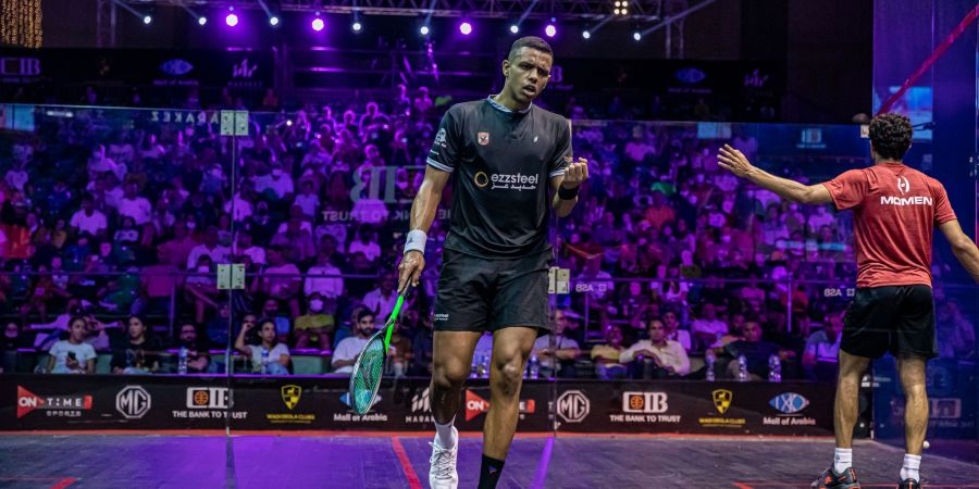 Mostafa Asal in action at the CIB PSA World Tour Finals