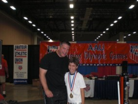 First powerlifting gold medal, age 10, 2009 AAU Junior Olympic Games.