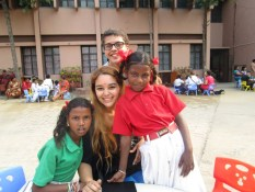 With students at a convent school in India