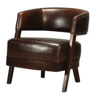 Leather & Walnut Open Back Chair