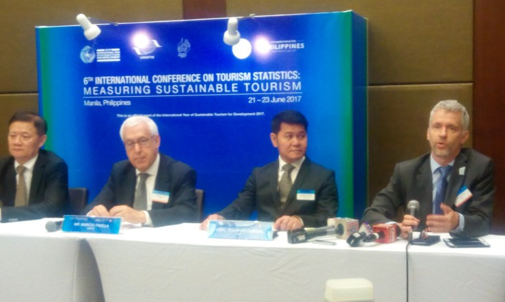 (L to R) Xu Jing, UNWTO Regional Director for the Asia-Pacific region; Marcio Favilla, Executive Director for Operational Programmes and Institutional Relations of the United Nations World Tourism Organization; Rolando Cañizal, Undersecretary for Administration and Special Concerns of the Philippine Department of Tourism; John Kesster, UNWTO Statitstician.