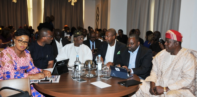 L-R: Representative of the Bank of Industry, Uche Nwuka; Managing Director, Film One Production, Kene Mkparu; Minister of Information & Culture, Alhaji Lai Mohammed; Director General, Nigeria Tourism Development Corporation, Folorunso Coker; Chairman, Social Media Weekly, Lagos, Obi Asika and Director General, National Council for Arts & Culture, Otunba Olusegun Runsewe, at the Creative Industry RoundTable in Lagos