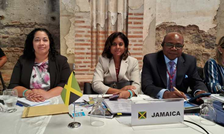 Tourism Minister, Hon. Edmund Bartlett (right) joins colleague Kerry Chambers, Senior Director of Policy and Monitoring and Johnelle Causwell Vice-Chair of the Charlotte International Cabinet for a photograph following the announcement that Jamaica was selected to Chair the Regional Commission for the Americas (CAM). The elections for the Chairmanship of CAM were held during the organization's 64th Meeting in Guatemala on May 16, 2019.