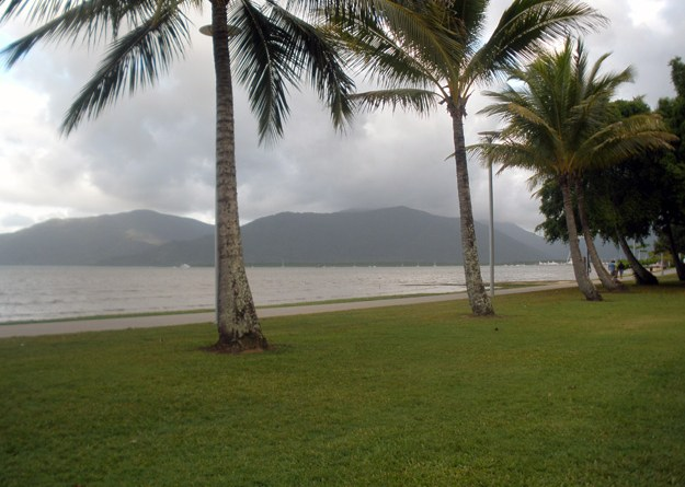 View of the beach boardwalk in Cairns, Queensland, Australia