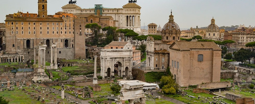 Looking down upon the Roman Forum in Rome, Italy