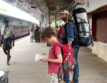 India with Children. One for Dad and one for me. Backpacks are what you need for our style of travel. India.
