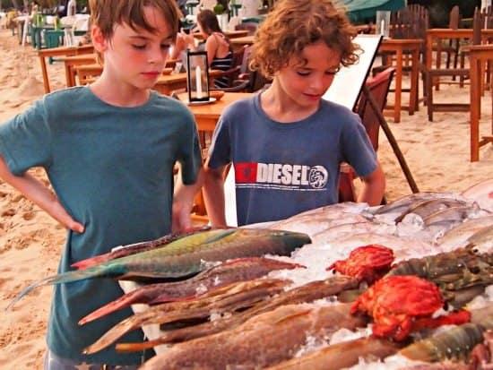 Food in Sri Lanka, fresh fish on the beach in Mirissa.