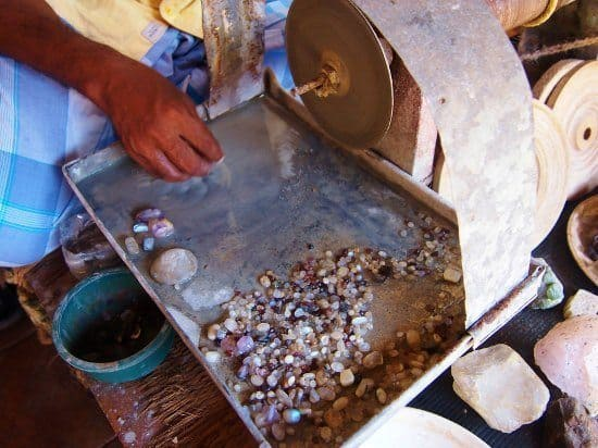 Things to do in Galle Sri Lanka .Gemstone working within the walls of Galle Fort Sri Lanka.