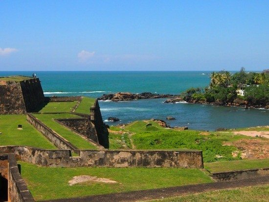 Galle Fort Sri Lanka. Fortifications and the walls overlooking the ocean.