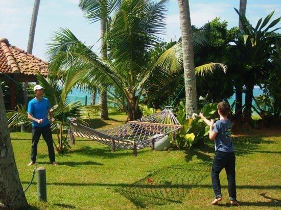 Badminton in the gardens at Max Wadiya