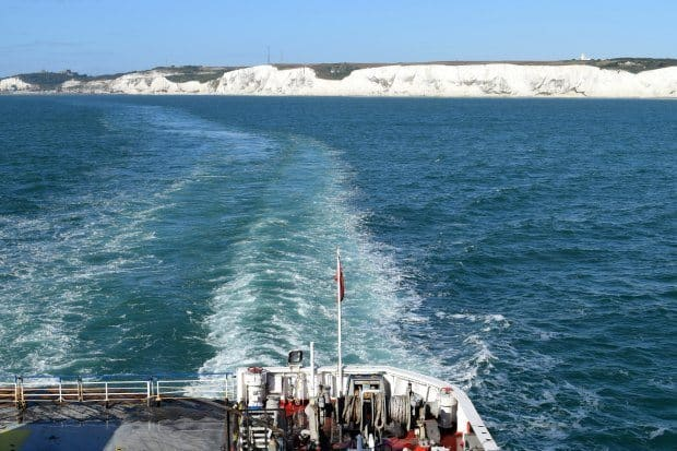 Ferry to France from Dover. White Cliffs of Dover