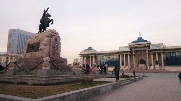 Chinggis square with the rider monument of Sukhbaatar