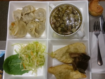 Buuz (dumplings with meat), soup, salad and Khuushuur (bigger fried dumplings with meat and onion)
