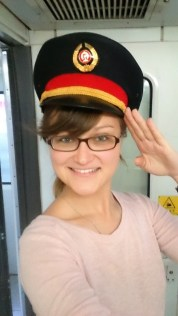 New job? Stole the cap of the Chinese train supervisor