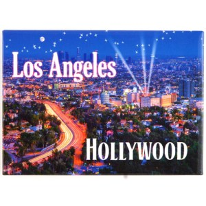Arial view of Hollywood, Los Angeles at night