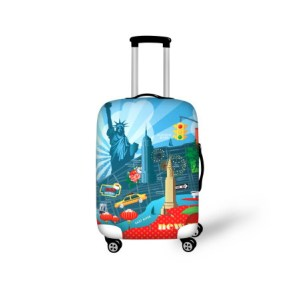 carry on suitcase with wheels New York artwork on it