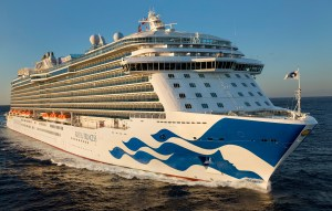 Royal Princess cruise on course at dusk or dawn