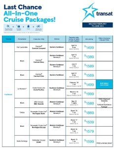 price graph for transit travel all in one cruise packages