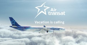 Air Transat plane in clouds