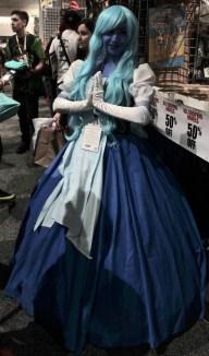 Blue alien with light blue hair
