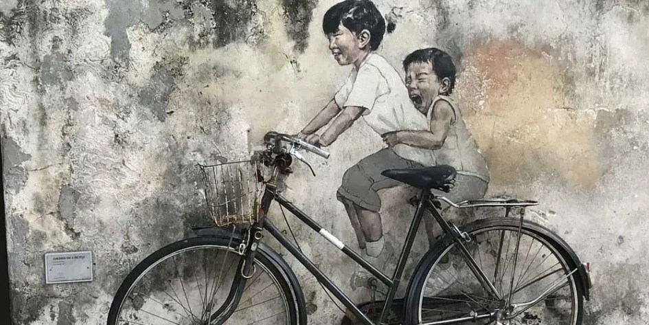 Georgetown street art - children on bike