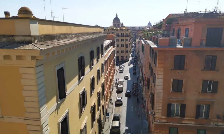 Shows an overhead view of the city buildings in Rome - Where to stay in Rome