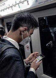 A Man with Mask - Beijing Subway