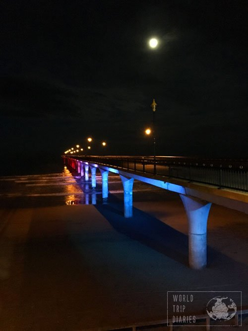 New Brighton Pier, lighting up like a rainbow