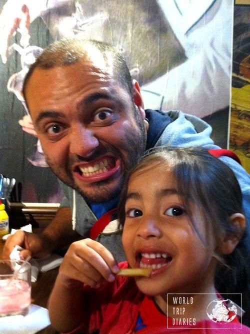 Angelo and Coral eating at Burger Burger