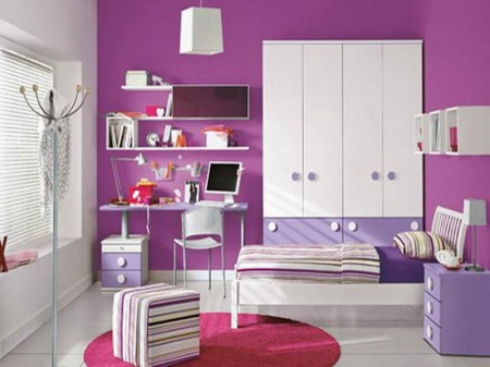 Purple-Color-Combos-for-Room-Paint-Ideas-with-round-carpet