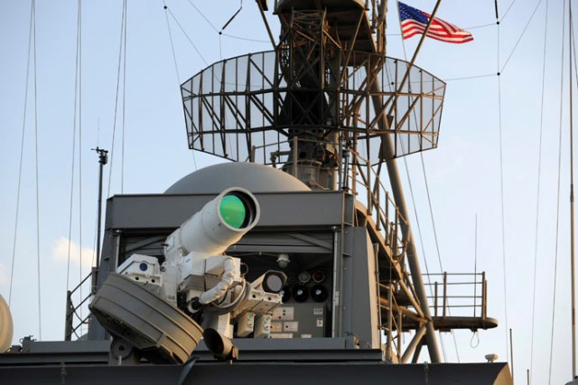 U.S. Navy handout photo of the laser weapon system tested aboard the USS Ponce in the Gulf