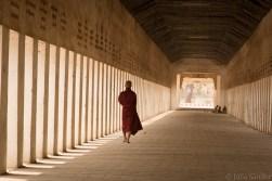 Bagan temples: monk walking