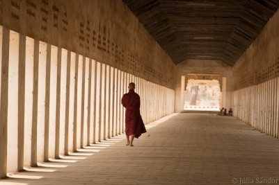 Bagan temples: monk walking